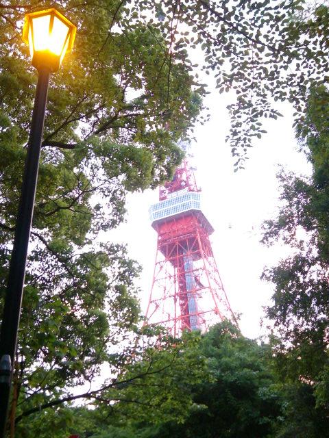 増上寺とプリンスホテルの間からの東京タワー
