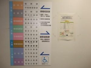 横浜市建築局の案内板