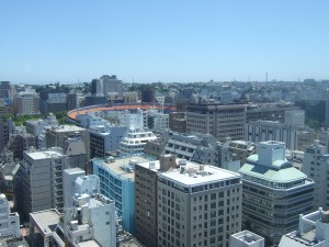 JNビル最上階から見た横浜スタジアム